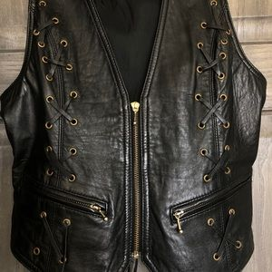Jackets & Coats - Leather Lace Up Vest